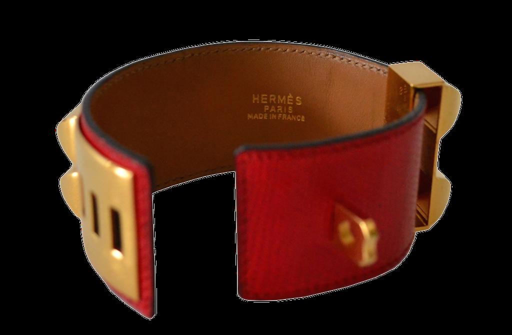Bracelet Hermès Médor Collier de Chien en Lézard Rouge Braise