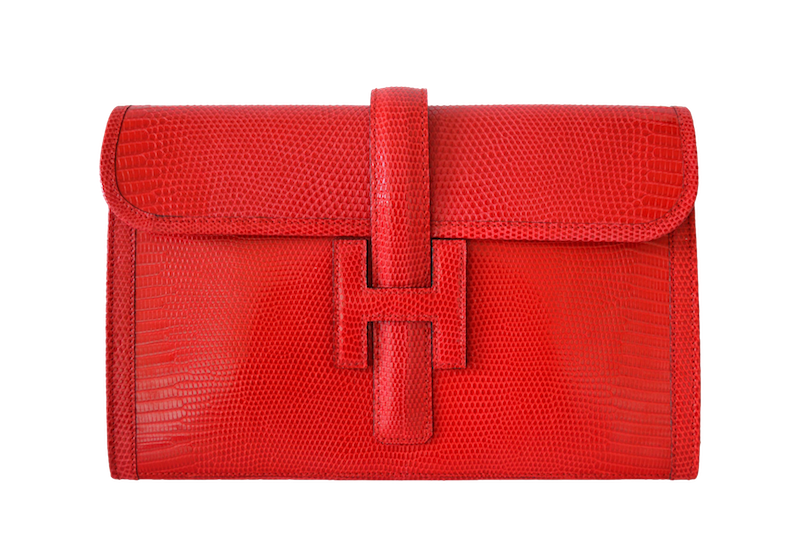 Hermès Jige Lizard Rouge Braise clutch Lizard Rouge