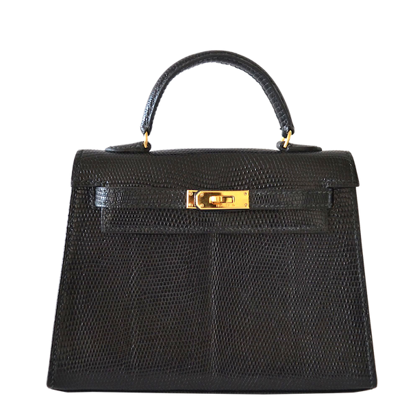 Exceptional Hermes Kelly 15 Lizard Black