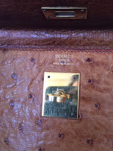 Sac Hermès  Kelly 28 Autruche Gold