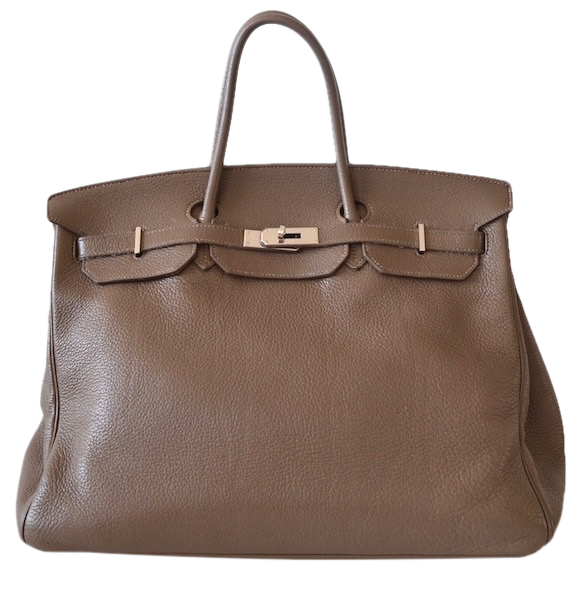 Sac Hermès Birkin 40  Taurillon Clémence étoupe