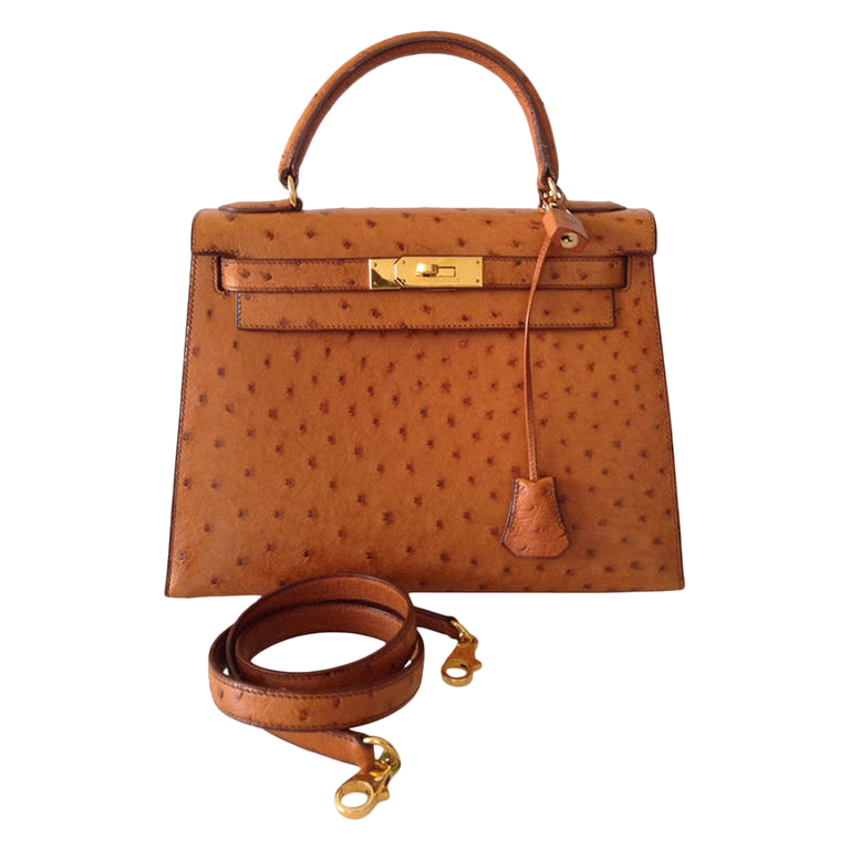 Sac Hermes Kelly 28 Autruche Gold