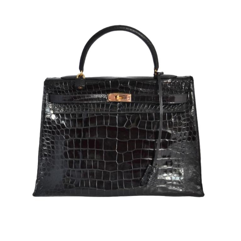 Hermès Kelly 32 Crocodile Porosus Noir