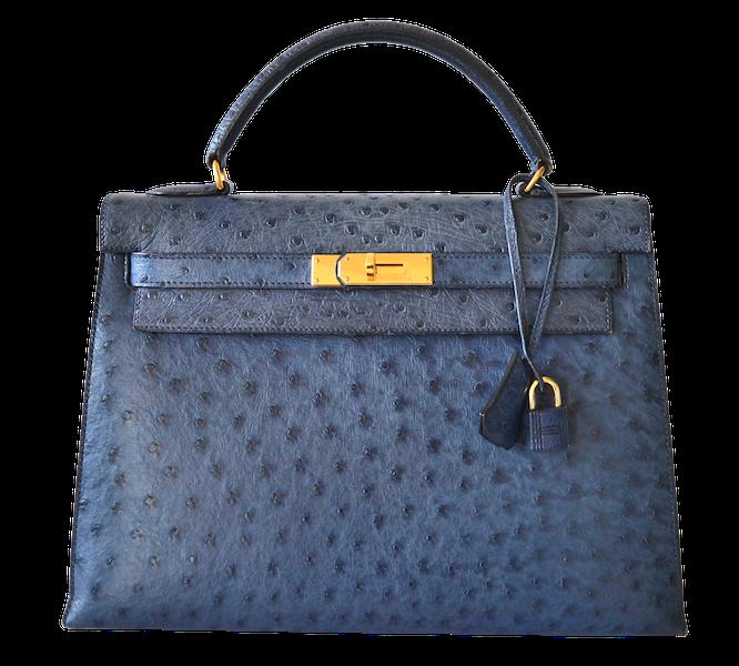 Hermès Kelly 32 Autruche Bleu