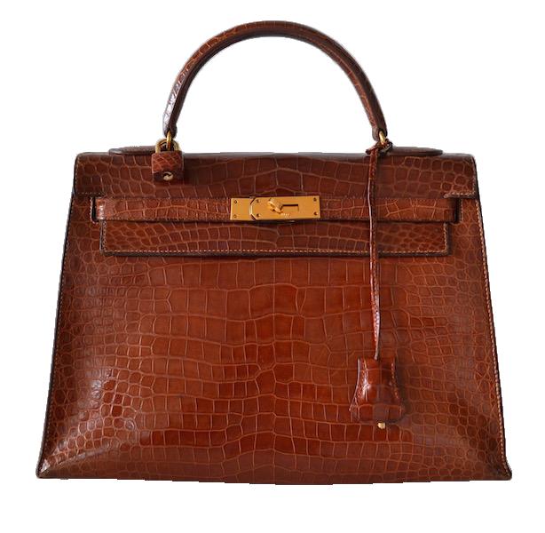 Hermès Kelly 32 crocodile Porosus Cognac