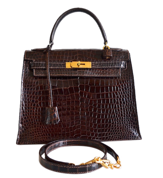1cb4858a3199 Sac Hermès Kelly 28 crocodile Porosus Havane   MODE IN LUXE - French ...