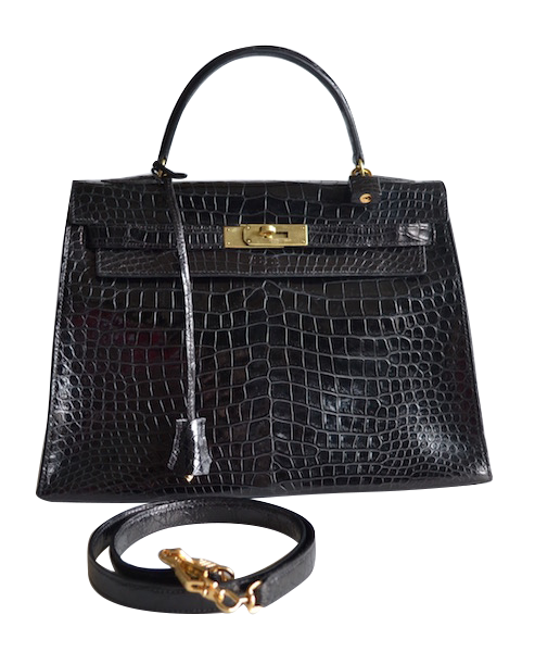 Hermès Kelly 32 Black Crocodile Noir